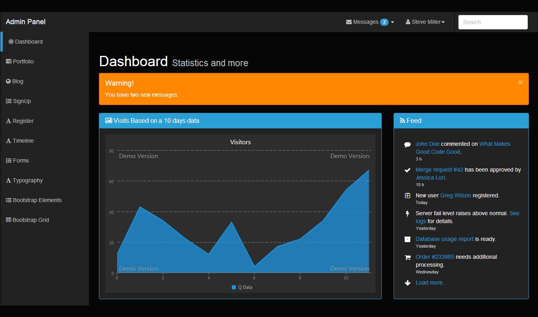 DarkAdmin Bootstrap Template