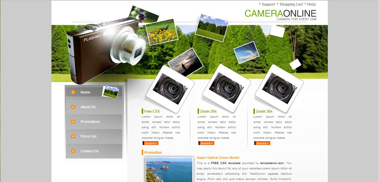 Camera Shop Online - Free CSS Template
