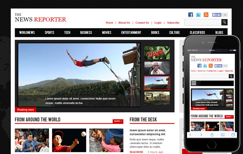 The New Reporter Flat Bootstrap Responsive Free Download