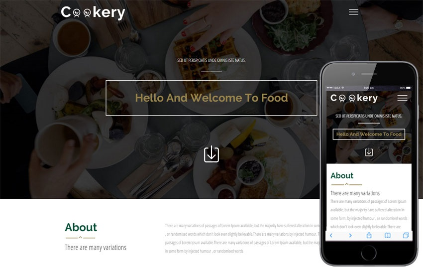 Cookery - A Bootstrap based free restaurant template