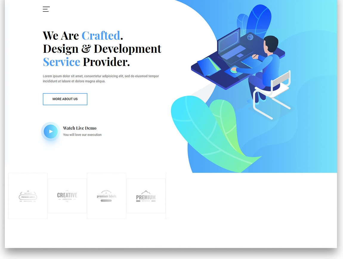 Crafted free web development template