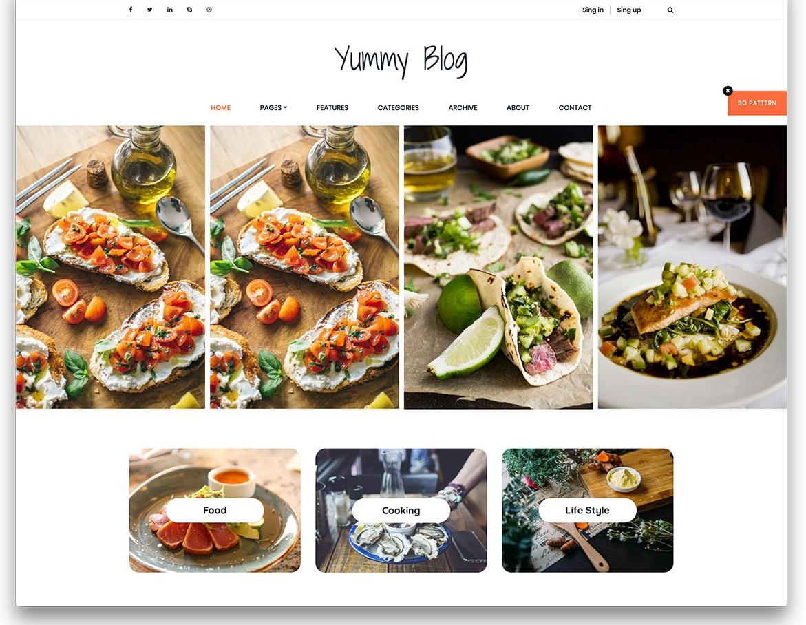 Yummy minimal food blog website template