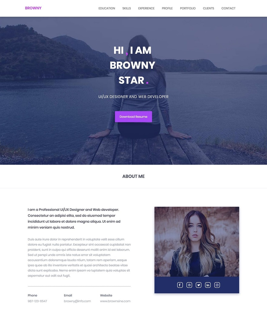 Browny One Page HTML Template