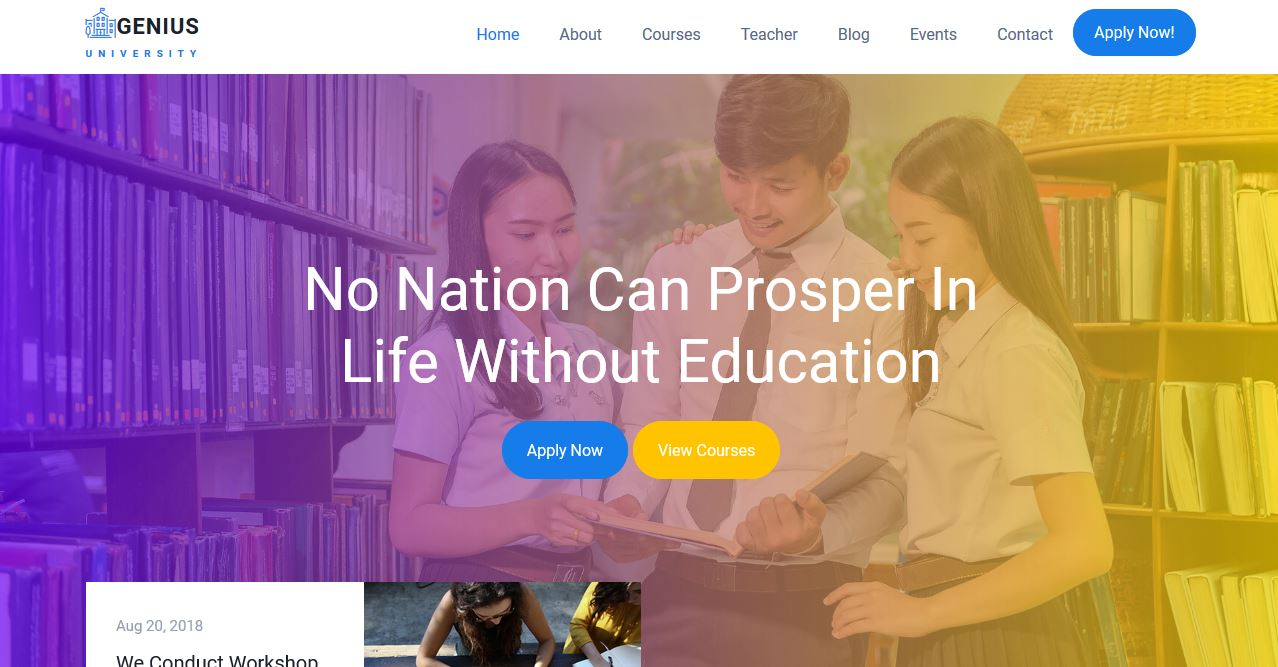 Genius University Website Templates