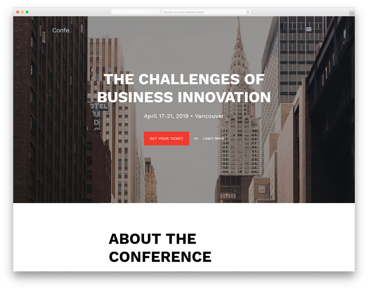 Confe Free Website Templates