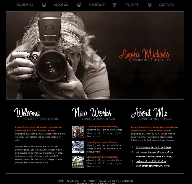 Website Templates For Photography Photography Website Design - Free photography website templates