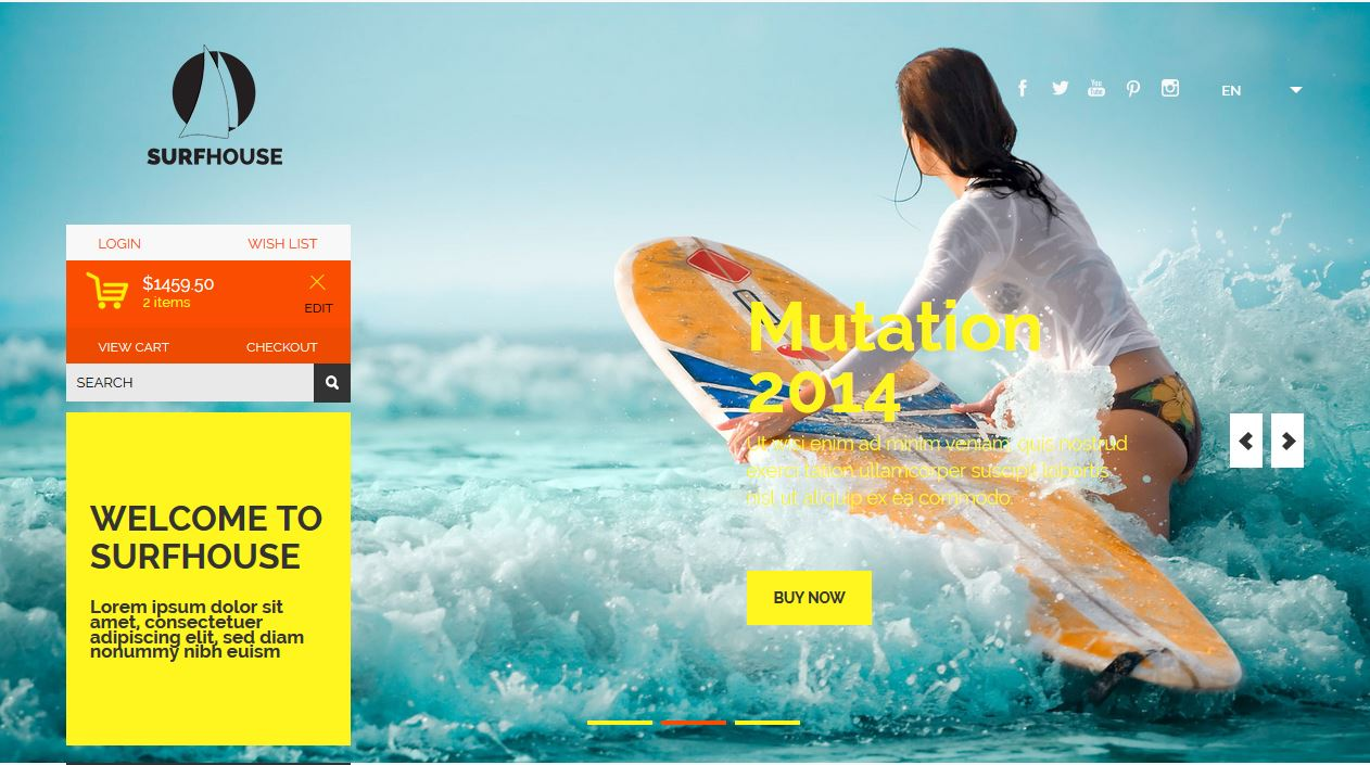 Surfhouse a Flat ECommerce Bootstrap Responsive