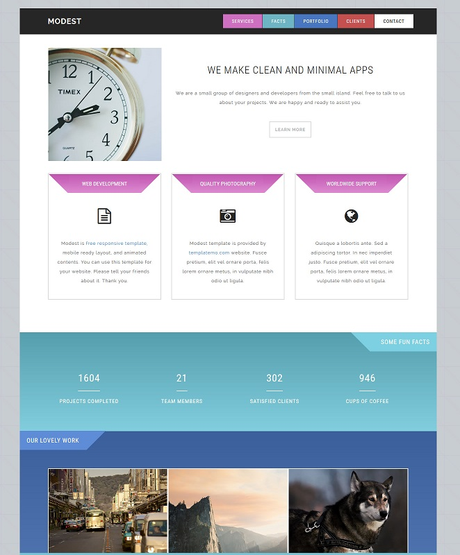 Modest responsive template