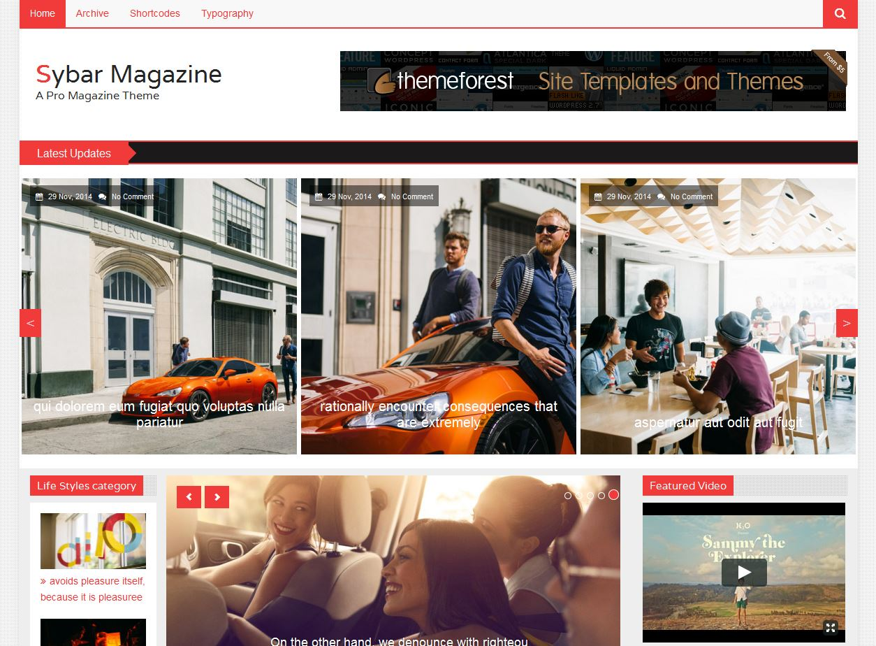 sybar magazine free templates html5 for magazine website - Free Templates