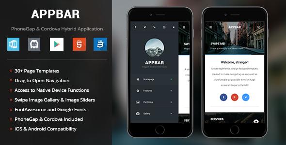 AppBar theme - PhoneGap & Cordova Mobile App