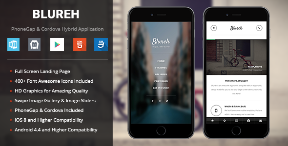 Blureh Mobile Template for PhoneGap & Cordova Mobile App