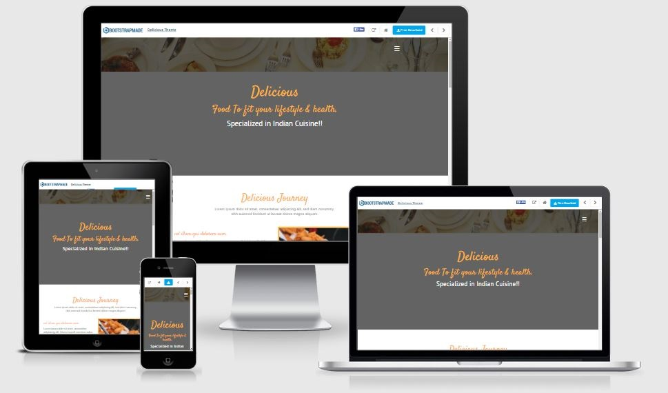 Delicious Responsive - A Bootstrap based free restaurant template