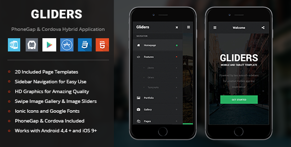 Gliders theme PhoneGap & Cordova Mobile App