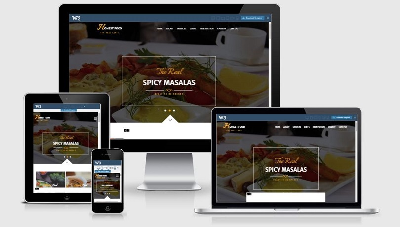 Honest Food - A Bootstrap based free restaurant template