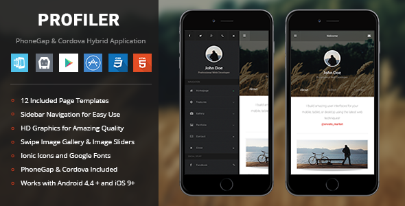 Profiler theme PhoneGap & Cordova Mobile App
