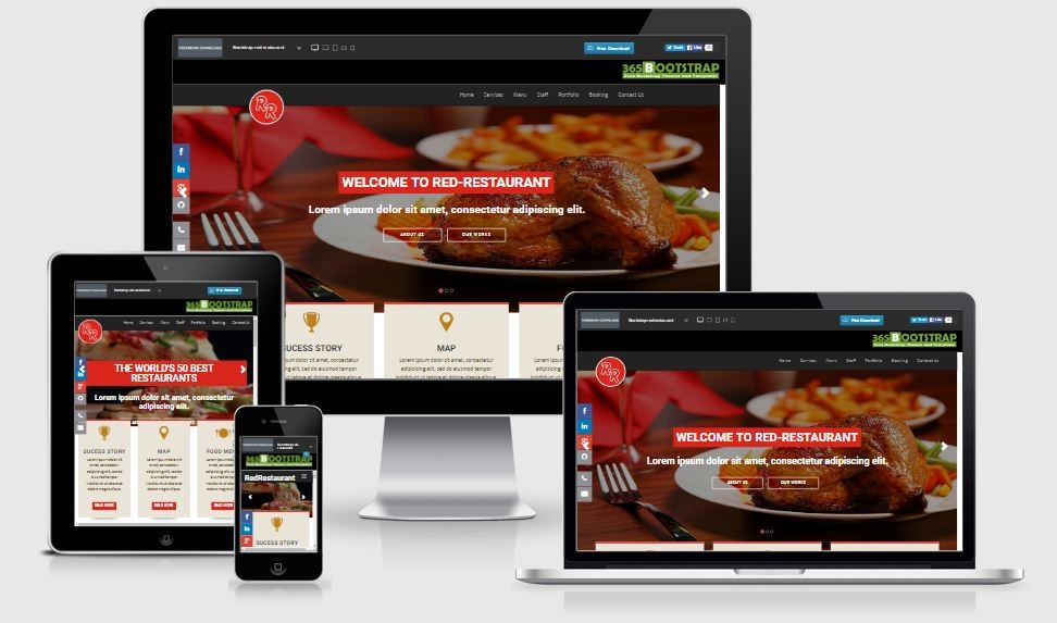 Red Restaurant - A Bootstrap based free restaurant template