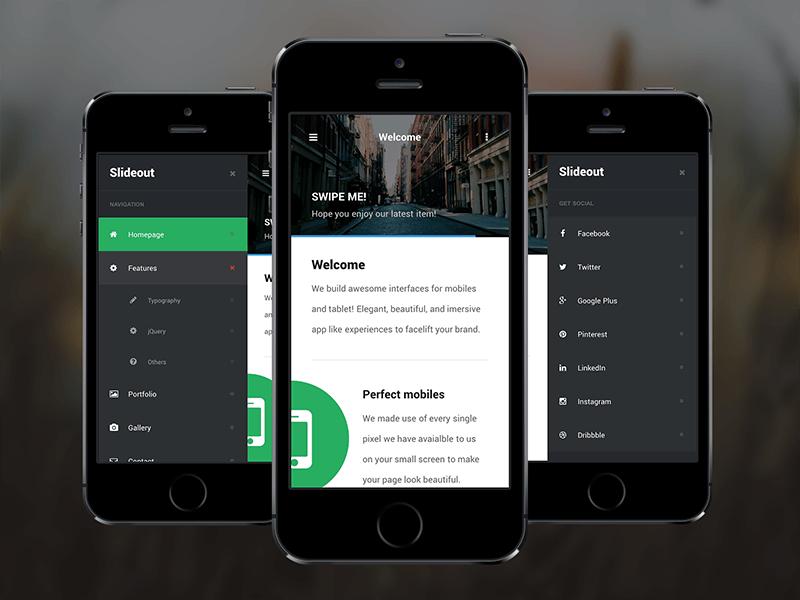 Slideout free templates PhoneGap & Cordova Mobile App