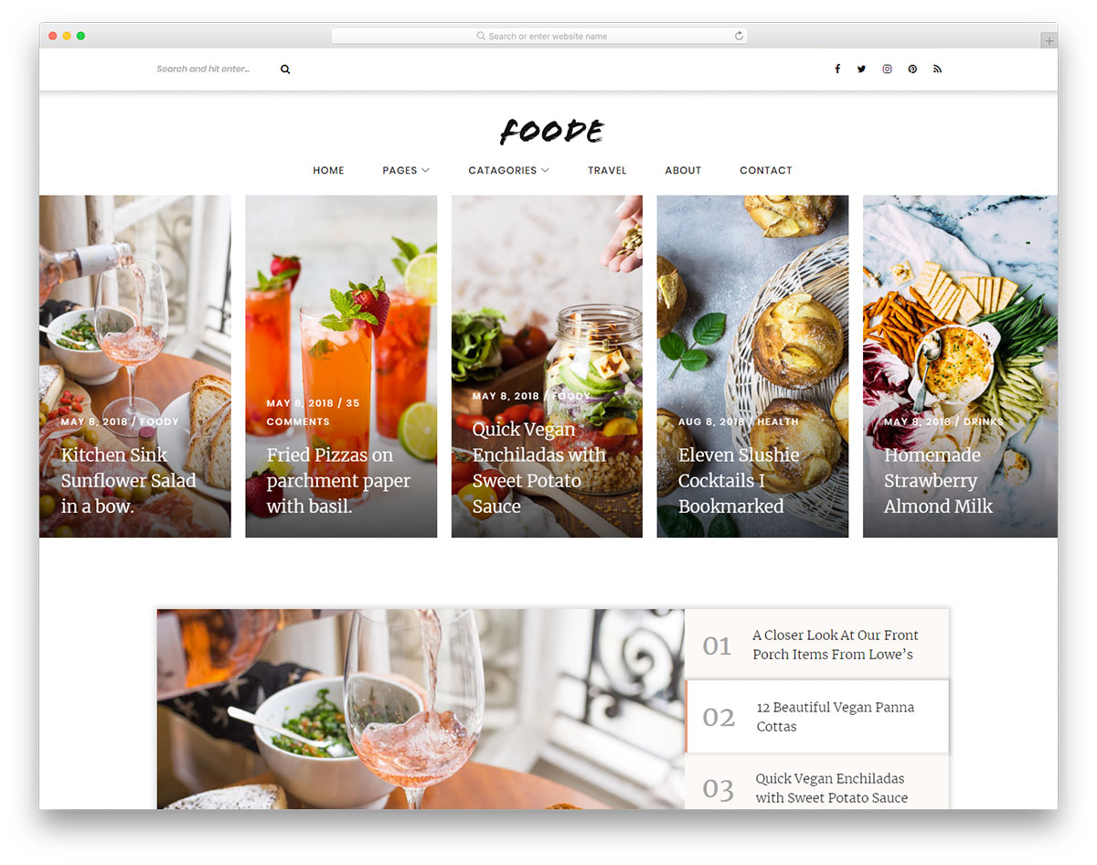 Foode - Food Blog free template