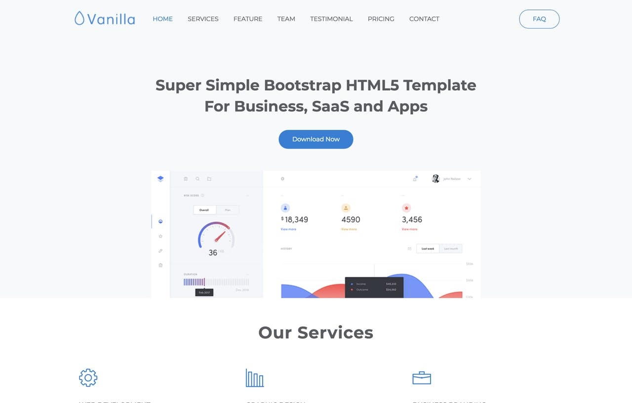 Vanilla One Page HTML Template