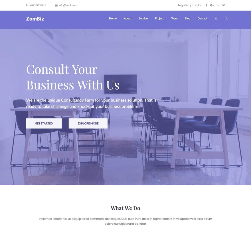 Zombiz One Page HTML Template