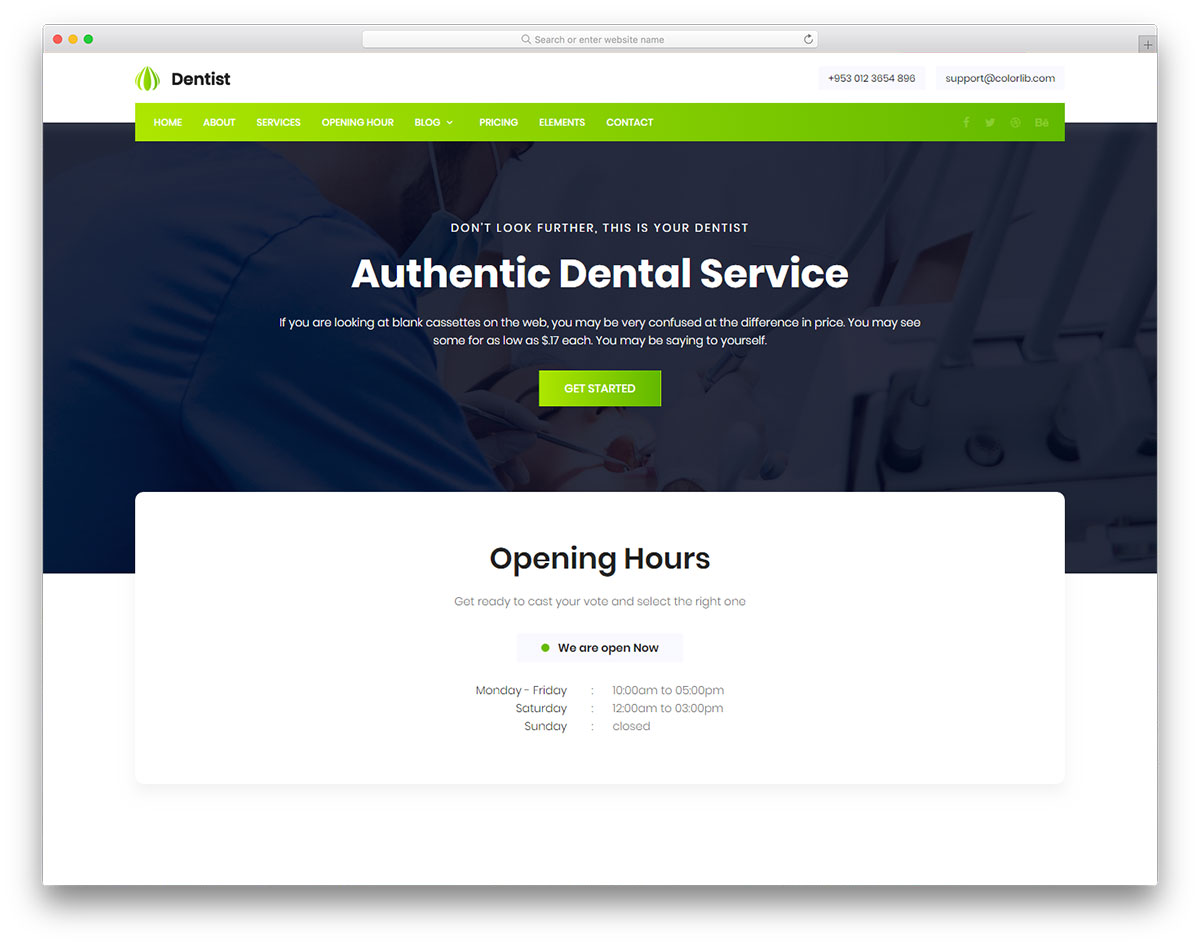 Dentist free template