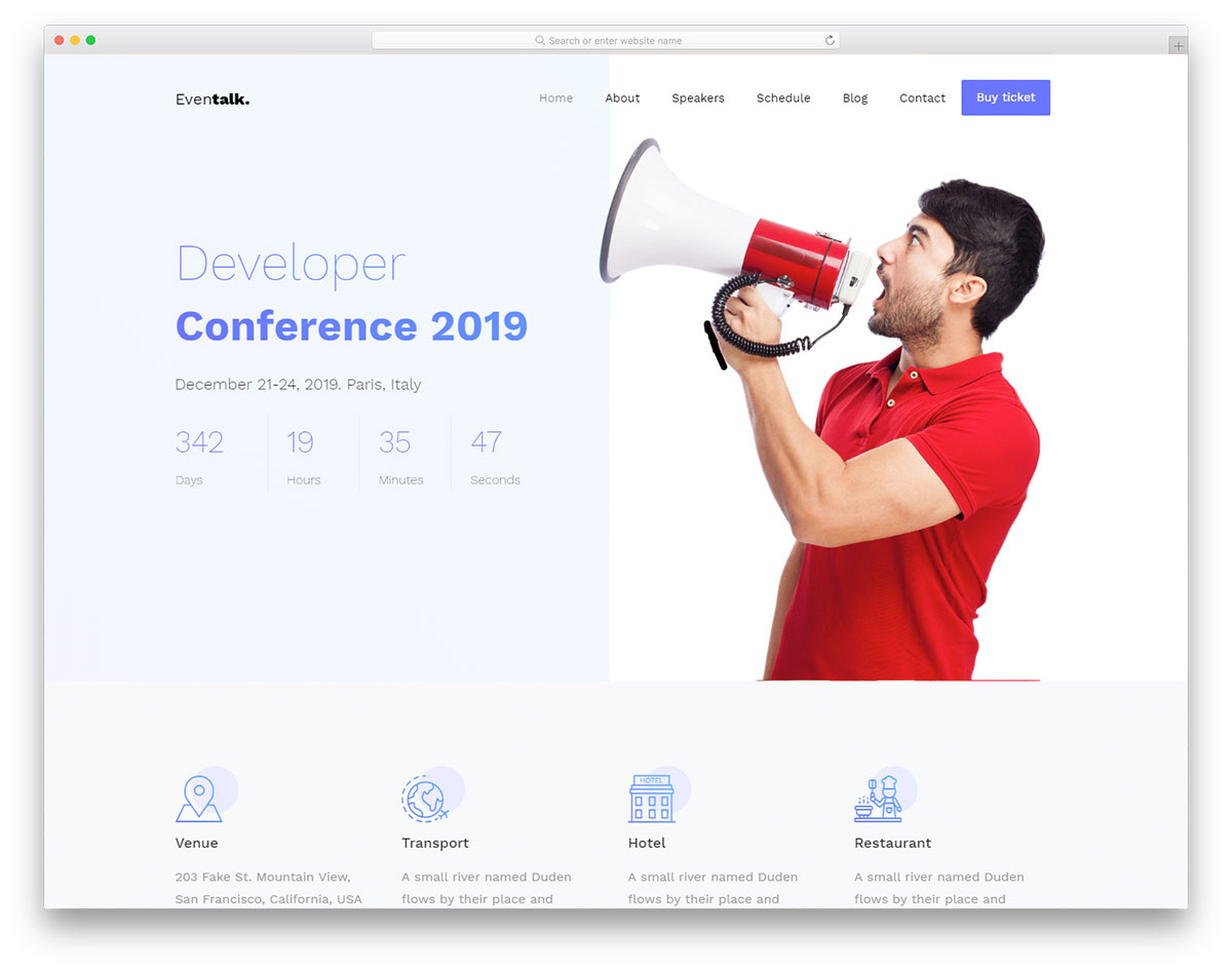 Eventalk Free Website Templates