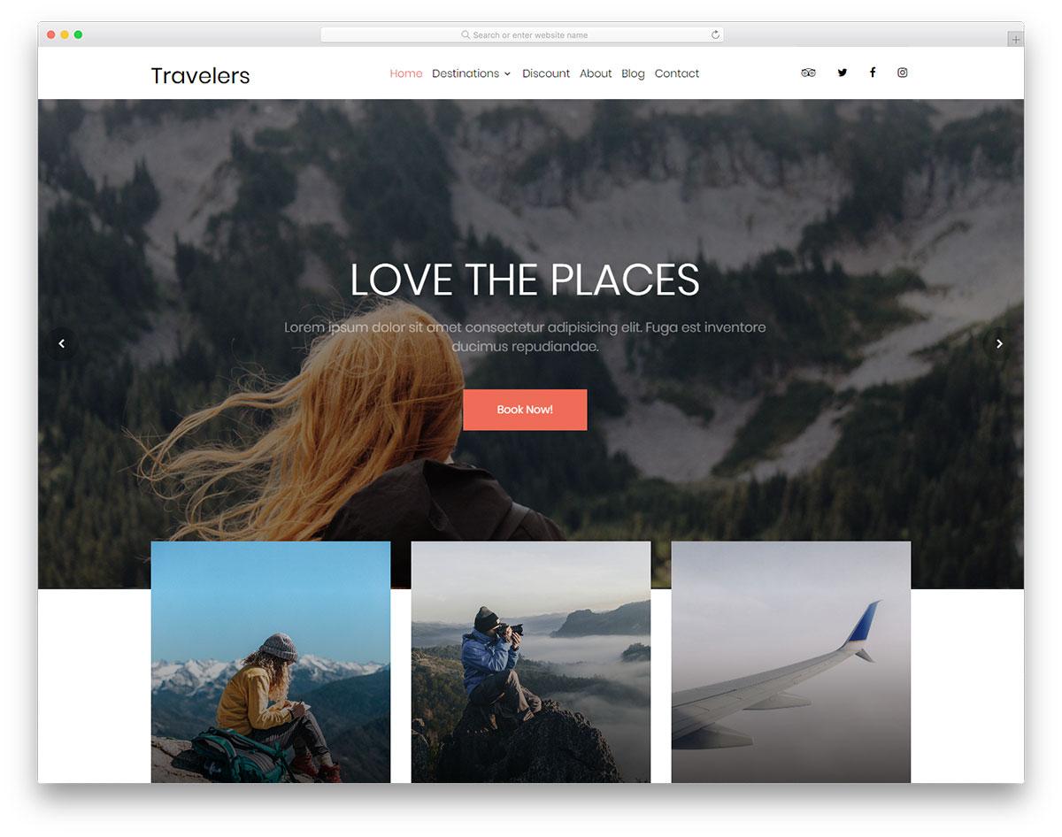 Travelers Free Website Templates