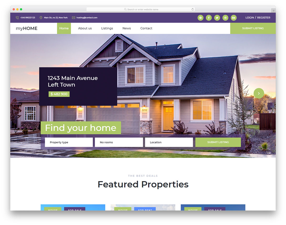 MyHome free Bootstrap real estate website template
